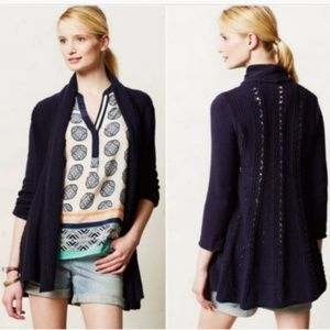 Anthropologie Angel of the North Navy Blue Sweater